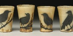 Salt Fired Tumblers. Kyle Carpenter. Kyle creates elegant, simple forms then lavishes the attention of his brush to compose striking surfaces. He is especially noted for imagery of reeds, grasses, and birds.