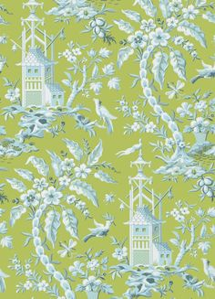 Pagoda Garden Wallpaper A striking wallpaper inspired by an antique French document from the 19th century, depicting a fantasy Oriental scene with gracefully arching trees, birds, and pagodas, shown in green.