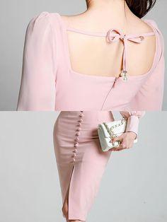 Square Neck Pink Bodycon Midi Dress