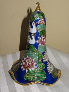 Ornate Cloisonne Collectible Blue and Gold Scenic Pond Bell Ornament.JPG (600×800)