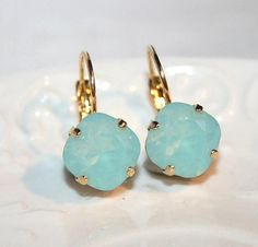 Diamond shaped Seafoam Mint Golden Earrings Aqua by AngelPearls Etsy CLICK pic & use coupon code HAPPY10 for 10% off all ITEMS now! ♥