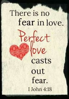 Bible Verses About Love: there is no fear in love perfect love cast out fear 1 John, Love Cast, Angst, Bible Scriptures, Christian Quotes, Christian Pics, Word Of God, Gods Love, Sayings