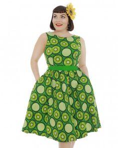 'Audrey' Electric Green Kiwi Print Swing Dress - Medium 10US/14Uk