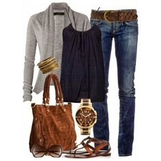 Navy top+jeans+brown belt, suede hand bag and ankle strap flat sandals+grey cardigan+watch+bracelet+sunglasses. Summer outfit 2016