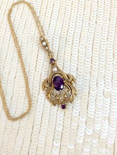 Victorian Gold Amethyst Pearl Pendant  Antique10k by Topcatvintage