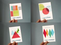 """These """"I Am A Shape"""" postcards are just too cute."""