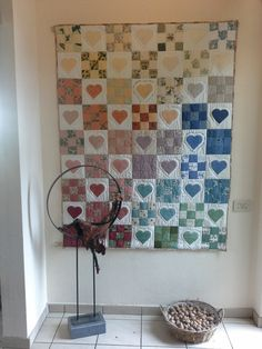 Quilts of Hearts. In the centre is written: When on this quilt you write your name, it's in my heart you will remain Centre, Hearts, Curtains, Quilts, Shower, Contemporary, Rugs, Home Decor, Rain Shower Heads