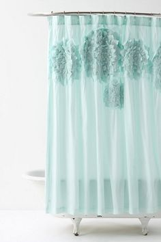 """Sculpted Mums Shower Curtain #anthropologie $128 on sale now for $59.99 Three-dimensional petals have been artfully arranged atop crisp white cotton.        Twelve buttonholes      Cotton; cotton lining      Professionally clean      72"""" square      Imported"""