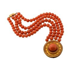 Etruscan Revival Coral Set. Including Necklace, Bracelet, Earrings and Pin. 19th century