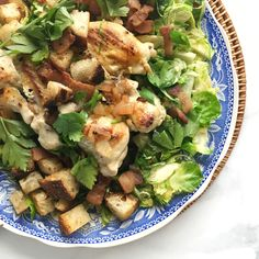 Brussels Sprout Salad with Chicken and Warm Bacon VinaigretteDelish