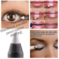 Beauty Hack! White eyeliner is the new makeup must have! Check out these different ways to use it! I used to wonder what the use was for it! Now it's a favorite beauty tool! $15.00 for the smoothest applying liner I've ever tried! Find it under our Precision eyeliners, Prestine! LashLoveSociety.com