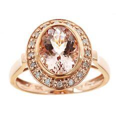 D'Yach - Anillo de oro rosado 10 K con morganita y diamantes de 1/10 ct peso total (G-H, I1-I2)