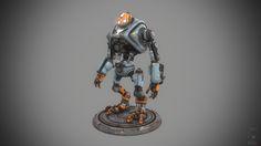 Weathered Bot, Paul Braddock on ArtStation at https://www.artstation.com/artwork/weathered-bot