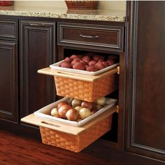 Rev-A-Shelf Woven Basket with Rails in Standard and Euro Sizes | KitchenSource.com  (in pantry cabinet, for onions, potatoes)