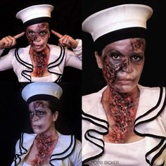 Day17 of my #31daysofhalloween #zombie  #zombiesailor  #sfx #sfxmakeup #scary  #halloween #halloweenmakeup #halloweenmakeupideas #amazing #beautiful  #facepainting #bodypainting #artist #bobbibicker #london