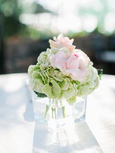 Hydrangea And Rose Centerpiece Wedding Centerpieces Table Flowers