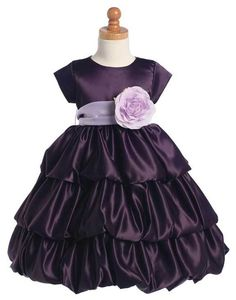 Adorable Baby Clothing - Purple Satin 3 Tier Bubble Girls Dress w-Color Change Sash, $58.00 Choose your own color ash and flower! (http://www.adorablebabyclothing.com/purple-satin-3-tier-bubble-girls-dress-w-color-change-sash/)