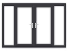 6ft Anthracite Grey uPVC French Doors with Wide Side Panels