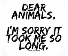 Dear Animals-I'm so sorry!!!
