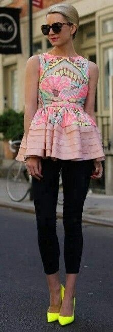 #spring #neon #trend #outfitideas   Embellished Top + Black + Neon Pumps