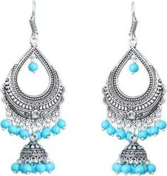 Waama Jewels Turquoise Pearl Silver Plated Chandelier Bali For Party wear Christmas Gift New Year Gift Pearl Brass Dangle Earring