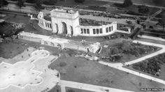 The War Memorial and Memorial Gardens under construction in Nottingham