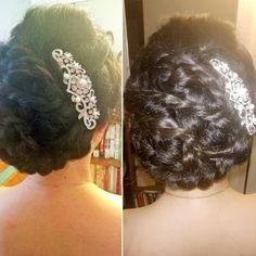 """Beautiful braided updo bridal hairstyle, perfect for a princess wedding day look. Love this pretty updo from our friends at Bun Bun Bridal Lab using our rhinestone & pearl bridal hair comb """"Leah""""!"""