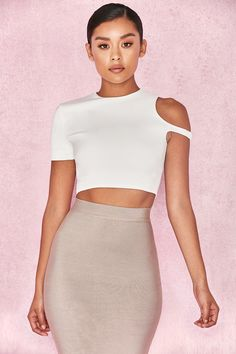Crafted from a stretch crepe fabric, 'Esme' features a cropped fit and asymmetric sleeve design. Bralette Tops, Crepe Fabric, Hot Outfits, Sleeve Designs, Clothing Patterns, Diy Clothes, Casual Dresses, Two Piece Skirt Set, Crop Tops