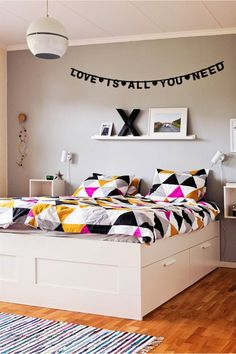 Love is all you need. Love the storage under the bed. One less piece of furniture!!!