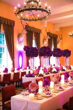 Wedding Reception | indoor | Purple Flower Centerpieces