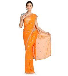 Orange Swarovski Chiffon Saree | Fabroop USA