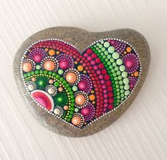 Big Heart Dot Art Mandala Painted Stone Fairy Garden Gift Decoration Painted rock Beachstone