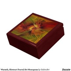 Warmth, Abstract Fractal Art Monogram Jewelry Box