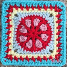 """Posy Wheel 6""""Square, free crochet pattern by Pink Mambo. This square is part of the Mystery Lapghan CAL 2015."""