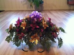 Christmas silk flower headstone saddle with by GuardianFlowers, $34.99