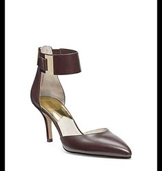 Michael Kors Guiliana Mid Ankle Strap Dark Brown Leather Heels Women Size 6 M *** Want to know more, click on the image.