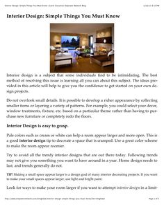 interior-design-simple-things-you-must-know by Carrie Giaconia via Slideshare All You Can, You Must, Simple Things, Good Things, Document Sharing, Carrie, Interior Design, Nest Design, Home Interior Design