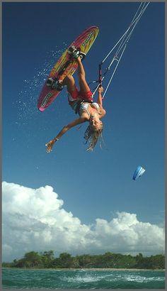 This girl rules!! #kitesurfing