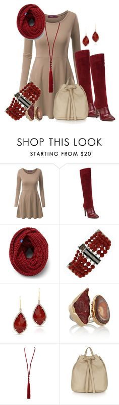 """""""taupe/darkred"""" by kloeyblue ❤ liked on Polyvore featuring Doublju, L'Autre Chose, Keds, Melissa Joy Manning, Oscar de la Renta, Topshop, women's clothing, women, female and woman"""