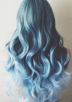 wavy, blue hair