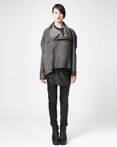Asymmetric Blistered Leather Jacket, Draped Tee & Leather Biker Leggings by Rick Owens at Bergdorf Goodman.