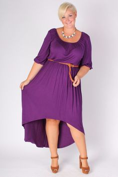 Plus Size Clothing for Women - Flowy High Low Dress - Purple (Sizes 12 - 18) - Society+ - Society Plus - Buy Online Now!