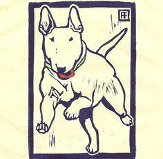 Annie Fitt;  Bull Terrier Linocut