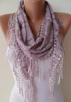 Lilac Shawl and Scarf with Lace Edge by SwedishShop on Etsy, $15.90