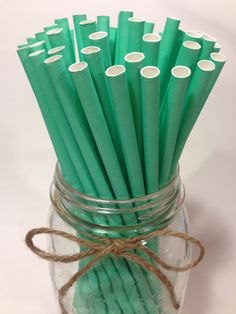 New products daily at tamscorner.etsy.com https://www.etsy.com/listing/188128916/25-solid-cool-mint-paper-straws-baby