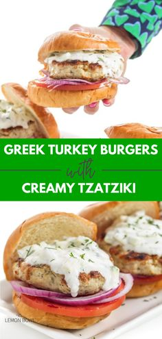 Greek-inspired turkey burgers are grilled to perfection and topped with a creamy garlic and dill tzatziki sauce. Protein packed and exploding with flavor, these grilled turkey burgers are a healthy addition to any BBQ. Grilled Turkey Burgers, Greek Turkey Burgers, Easy Turkey Recipes, Easy Dinner Recipes, Greek Burger, Lemon Bowl, Tzatziki Sauce, Turkey Dishes, Mediterranean Dishes