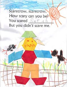 The Very Busy Kindergarten: Scary Scarecrows.  Use Pattern blocks and have student draw a setting for their scarecrow