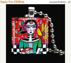 55% Off TODAY- Mexican Folk Art Jewelry - Day of the Dead Pendant Glass Gift Art - DOD Necklace Charm Frida Kahlo Skeleton Sugar Skulls