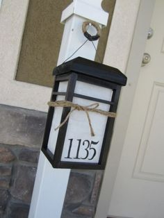 Affixing numbers to a lantern helps illuminate your address when it's dark at night. Get the tutorial at Shelterness.