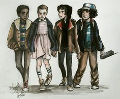 Stranger Things art by Olga G. - Lucas Sinclair, Eleven, Mike Wheeler, and Dustin Henderson